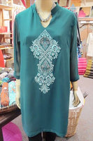 TUNIC - FAUX GEORGETTE - DARK GREEN WITH LIGHT GREEN EMBROIDERY - Bali Thai Imports