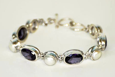 Handmade Amethyst Stone and Pearl Bracelet - Bali Thai Imports