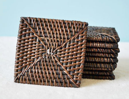 Set of 4 Rattan Coasters (DARK) - Bali Thai Imports