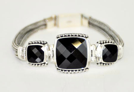 Black Onyx and Silver Bracelet - Bali Thai Imports