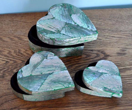 3 Piece Heart Shaped Jewelry Box Set - Bali Thai Imports