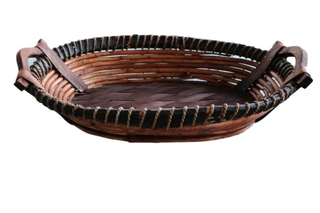 Handmade Large Oval Wicker Tray Basket