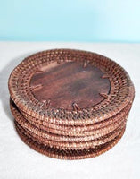 Set of 4 Rattan and Wood Coasters - Bali Thai Imports