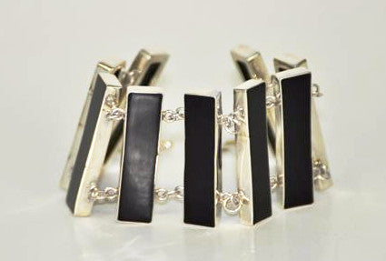 Handmade Onyx Shell and Silver Bracelet - Bali Thai Imports
