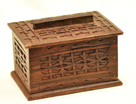 Hand Carved Ebony Wood Box - Bali Thai Imports