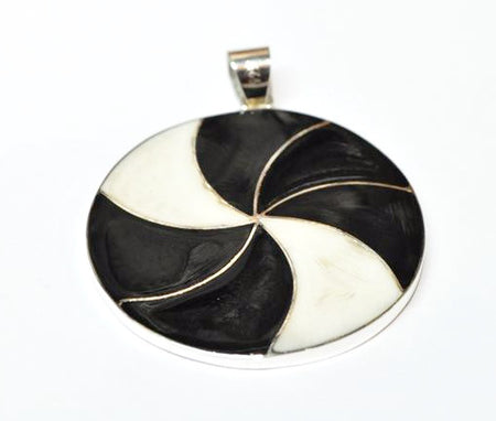 PENDANT- HANDMADE BLACK ONYX AND MOTHER OF PEARL/ STERLING SILVER .925 - Bali Thai Imports
