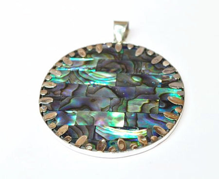 PENDANT- HANDMADE ABALONE SHELL/ STERLING SILVER .925 - Bali Thai Imports