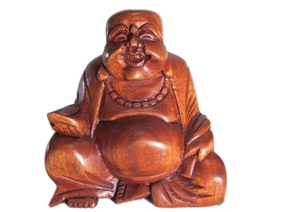 Happy Wood Buddha Statue