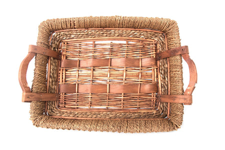 Large Rectangle Wicker Basket Tray From Bali