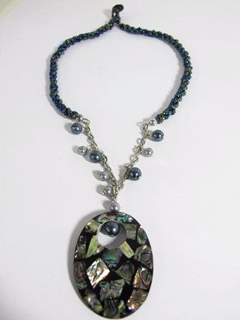 Beaded Necklace with Oval Abalone Pendant