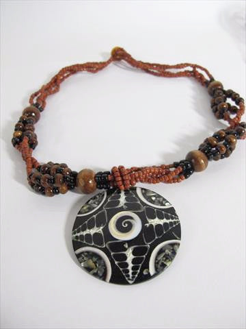 Beaded Necklace with Designed Medallion