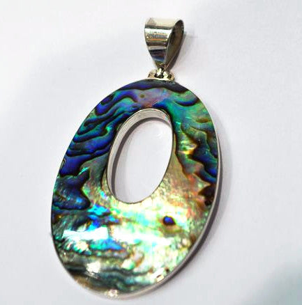 Abalone and Pawe Shell SIlver Oval Pendant