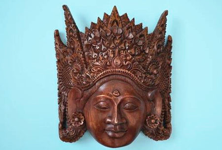 Handmade Jackfruit Wood Crown Mask - Bali Thai Imports