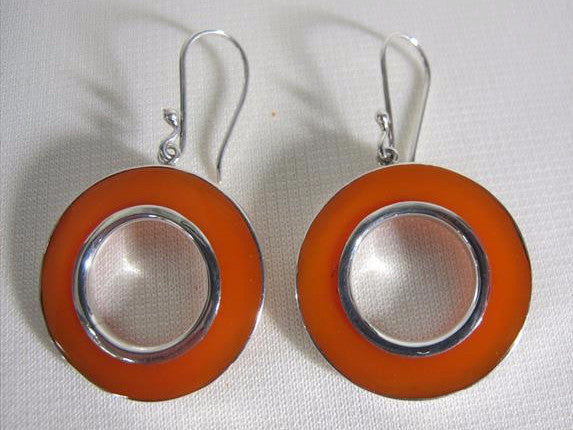 Red Circle and Silver Earrings