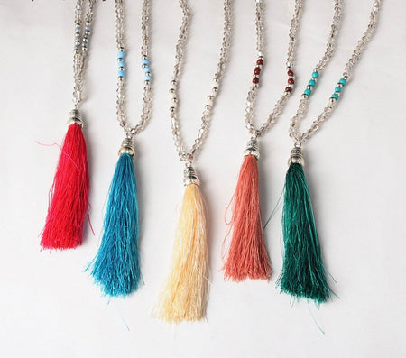 Silver Bali Beaded Tassel Necklace - FREE SHIPPING
