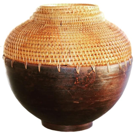Handmade Wood Pot With Rattan
