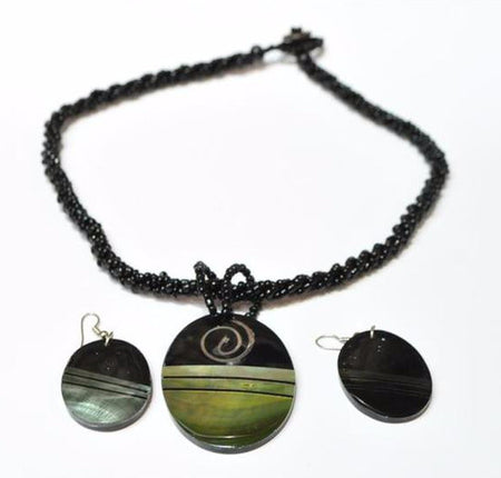 Black and Grey Beaded Necklace and Earring Shell Set