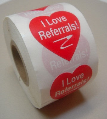 I Love Referrals Lg heart stickers/500