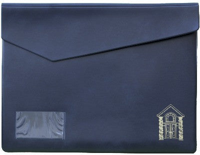 Naugahyde Navy/Gold  Closing Pouch