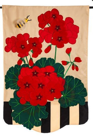 Geraniums Applique Flag