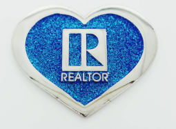 Realtor Heart Blue Glitter Pin