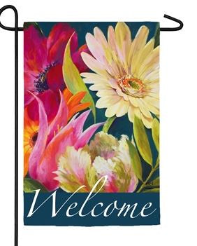 Welcome Floral Fanfare Garden Flag