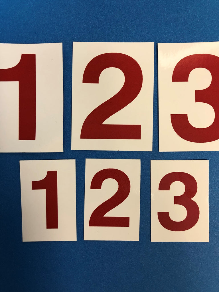 Large & Small Red Individual Number Decals