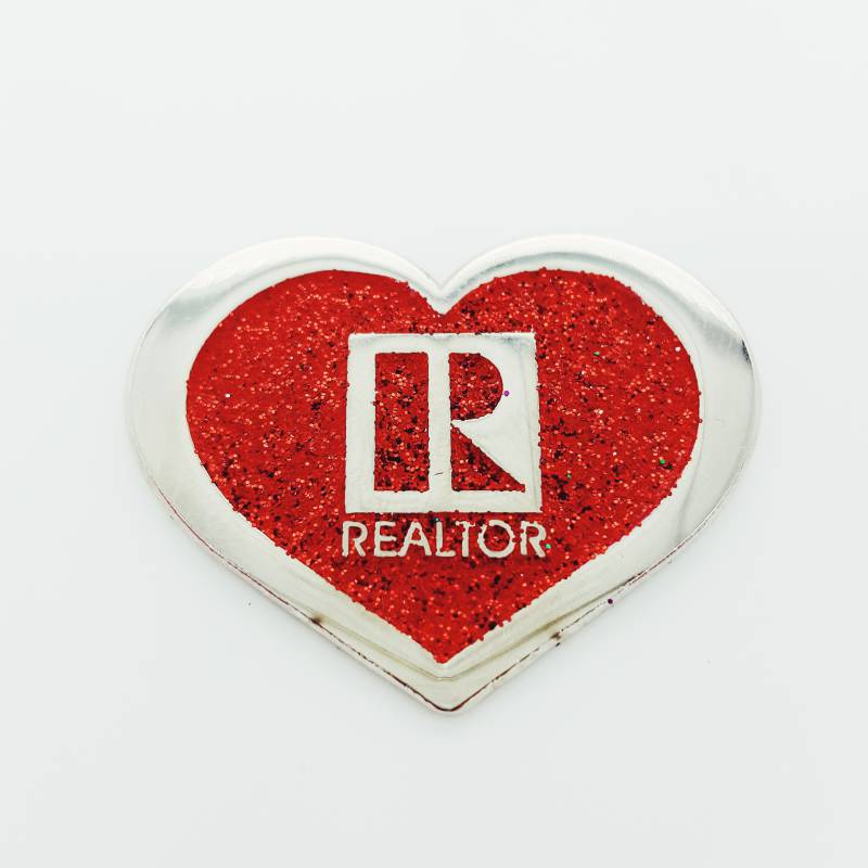 Realtor Heart Red Glitter Pin