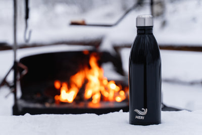 Black 1000 ml Stainless steel water bottle Meri Bottles