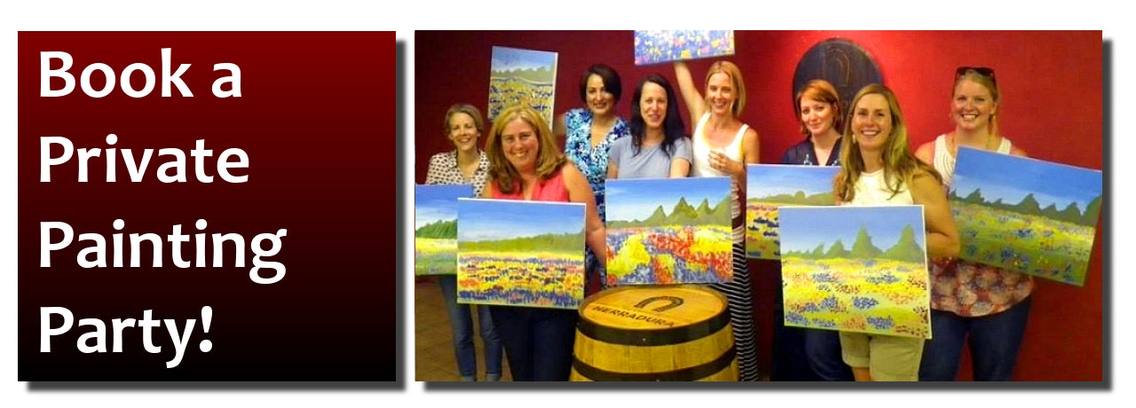 Paint, wine, & canvas classes for Phoenix, Glendale, Peoria, Sun City/ Sun West Surprise, Scottsdale, Tempe, Mesa, Goodyear, & Carefree