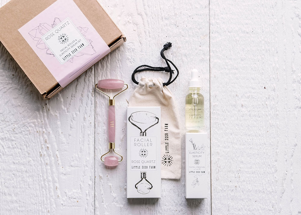 Rose Quartz Facial Roller + Elasticity Set