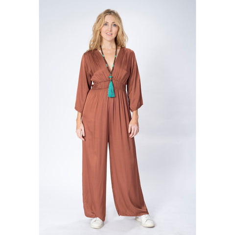 ENCHANTED CORAL JUMPSUIT *LAST ONE- MEDIUM SIZE ONLY!
