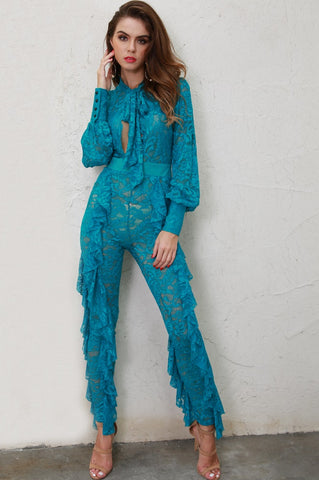 LACED AND LOVELY AQUA BLUE RUFFLED JUMPSUIT