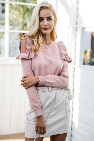 NELLY RUFFLED COLD SHOULDER SWEATER