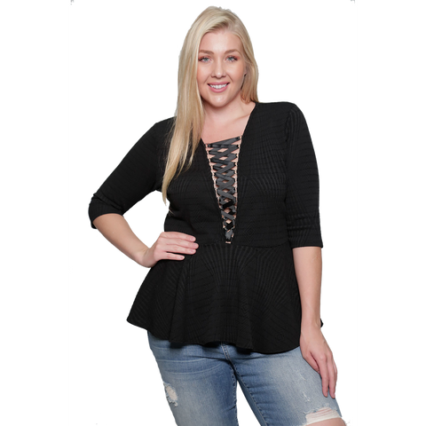 DANSEL BLACK CORSET TOP  *PLUS SIZE