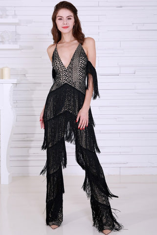 SWING OUT BLACK FRINGE JUMPSUIT