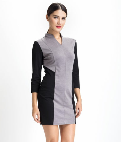 MULBERRY COLOR BLOCK DRESS