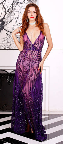 VENUS DE MILO PURPLE SEQUIN GOWN
