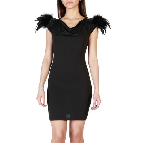DARK ANGEL FEATHERED SHOULDER MINI DRESS