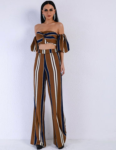 GENEVIVE PINSTRIPE TWO PIECE SET