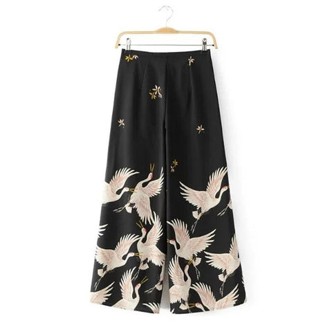 ELLIE BIRD PRINT LOOSE WIDE LEG PANTS