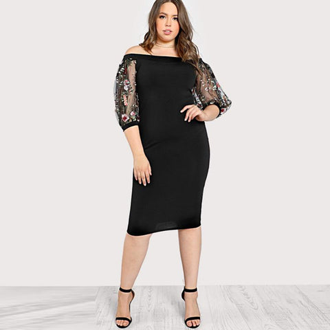 LYNIA EMBROIDERED MESH SLEEVE DRESS *PLUS SIZE