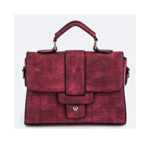DRAVEN STITCHED HANDBAG RED