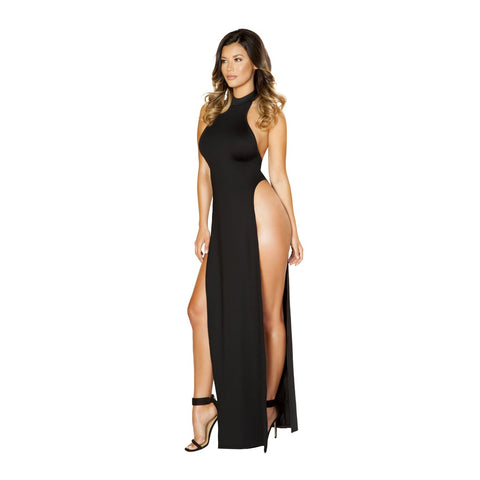 VANETTE MAXI HIGH SLIT HALTER DRESS
