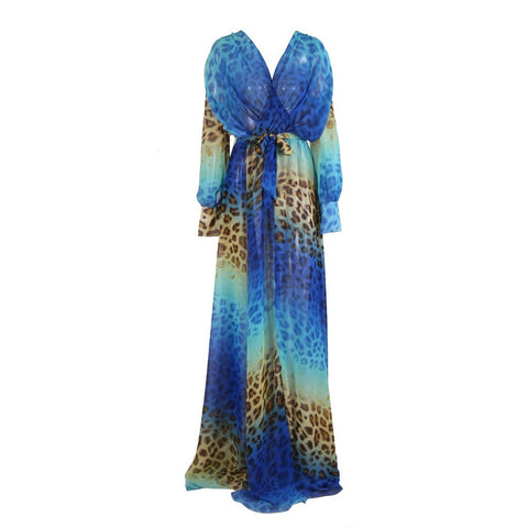 LEONNA BLUE LEOPARD MAXI DRESS