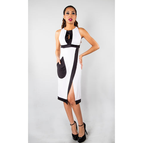 AMARIE BLACK AND WHITE WRAP DRESS