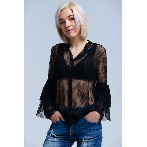 TSF BLACK SHEER LACE RUFFLE SLEEVE SHIRT