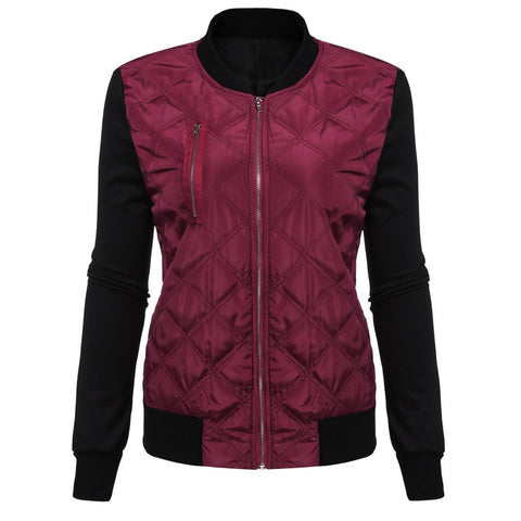 CONTRAST QUILTED BOMBER JACKET
