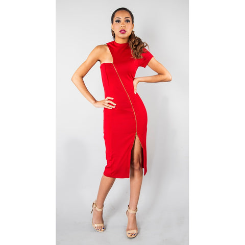 RED SLANT ZIPPER MIDI DRESS