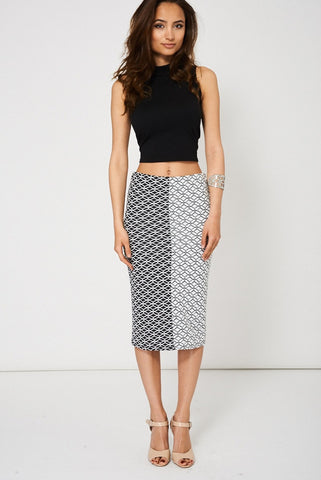 SO CLEVER BLACK & WHITE PENCIL SKIRT